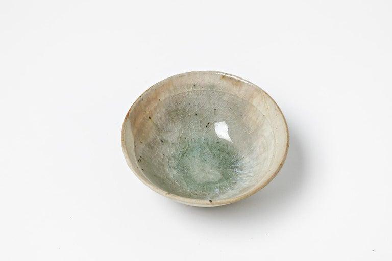 Modern White Ceramic Bowl or Cup by Jean Linard circa 1970 La Borne For Sale