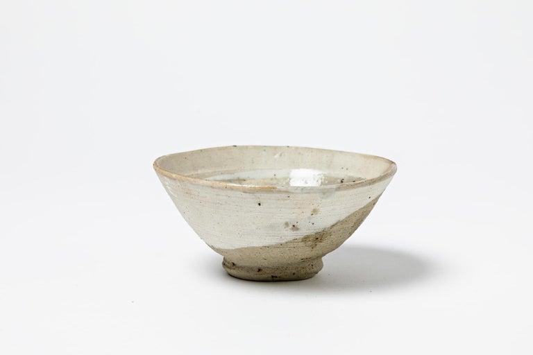 French White Ceramic Bowl or Cup by Jean Linard circa 1970 La Borne For Sale