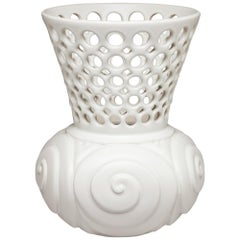 White Ceramic Carved with Circular Pierced Pattern Vase or Vessel, In Stock