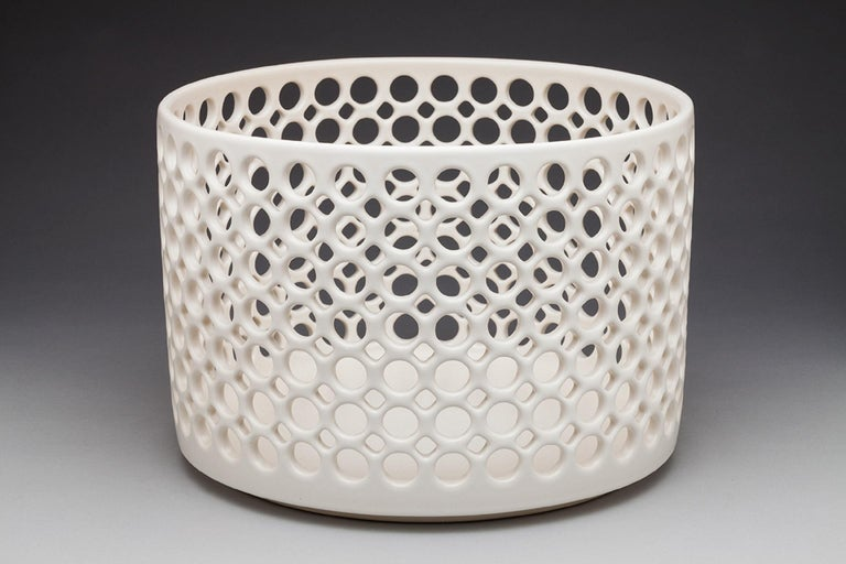 White Ceramic Circular Pierced Cylindrical Bowl or Vessel, In Stock In New Condition For Sale In Oakland, CA