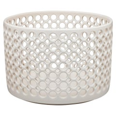 White Ceramic Circular Pierced Cylindrical Bowl or Vessel, In Stock