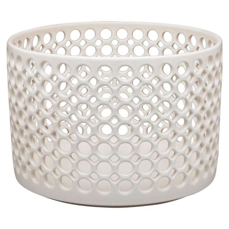 White Ceramic Circular Pierced Cylindrical Bowl or Vessel, In Stock For Sale