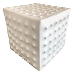 White Ceramic Cube Sculpture by Luke Shalan