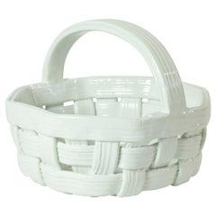 White Ceramic Fruit Basket, Italy, 1970s