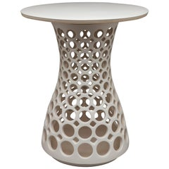 White Ceramic Hourglass Pierced Side Table with Ceramic Top