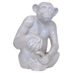White Ceramic Monkey Sculpture