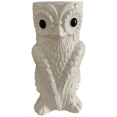White Ceramic owl Umbrella Stand