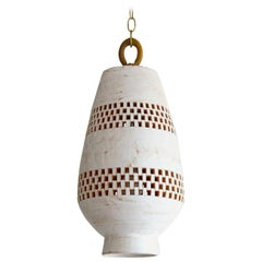 White Ceramic Pendant Light, Ajedrez, Large, Atzompa Collection