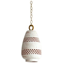 White Ceramic Pendant Light, Ajedrez, Small, Atzompa Collection