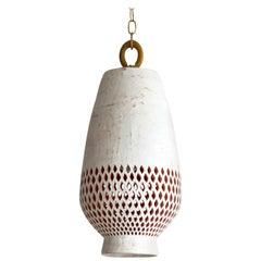 White Ceramic Pendant Light, Diamantes, Large, Atzompa Collection