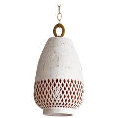 White Ceramic Pendant Light, Diamantes, Small, Atzompa Collection