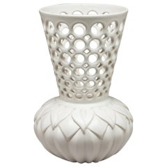 White Ceramic Pierced and Carved Calla Lily Vessel