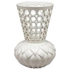 White Ceramic Pierced and Carved Calla Lily Vessel, In Stock