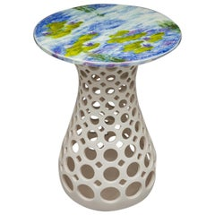 White Ceramic Pierced Side Table Lily Pad Ceramic Top