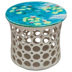 White Ceramic Pierced Side Table Turquoise/Yellow Impressionist Ceramic Top