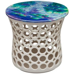 White Ceramic Pierced Side Table with Blue and Green Impressionist Ceramic Top