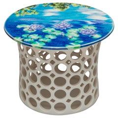 White Ceramic Pierced Side Table with Blue/Turquoise Impressionist Ceramic Top