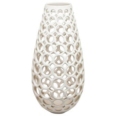 White Ceramic Pierced Tall Teardrop Tabletop Sculpture, In Stock