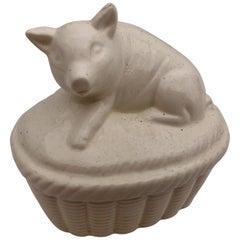 White Ceramic Pig Covered Box, Japan, 1980s in It's Original Box