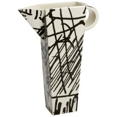 White Ceramic Production Jug 02 with Black Silk Screen Decals