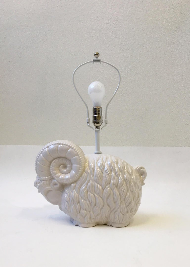 Mid-Century Modern White Ceramic Ram Table Lamp by Hager  For Sale