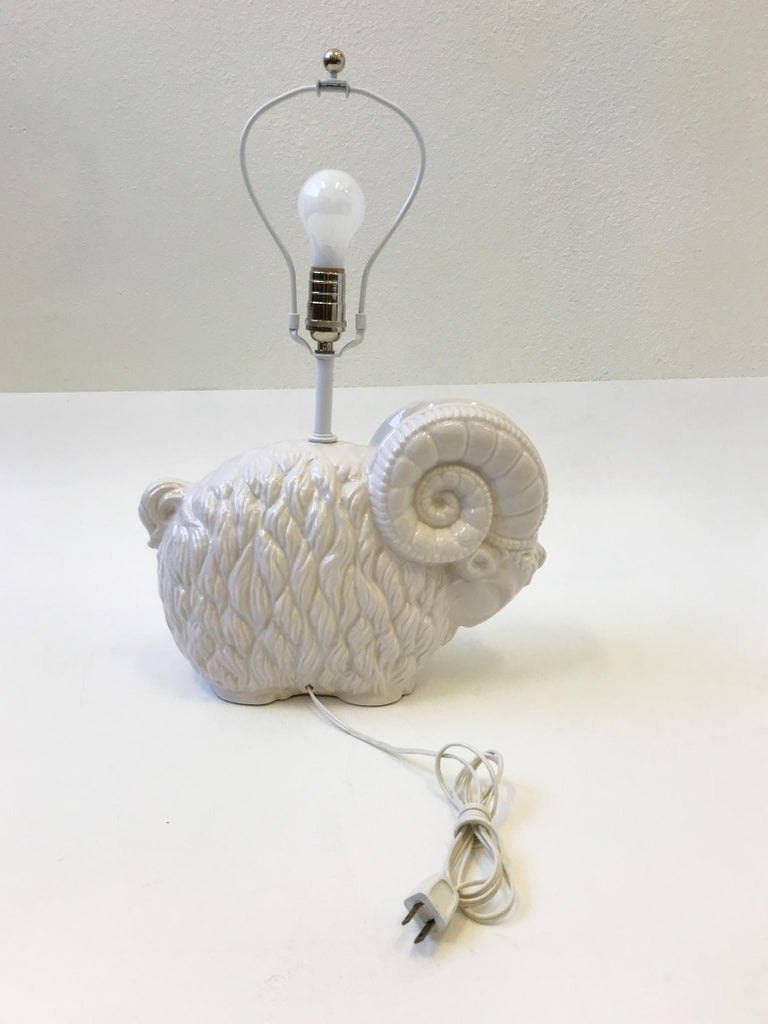 Glazed White Ceramic Ram Table Lamp by Hager  For Sale