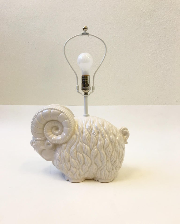 White Ceramic Ram Table Lamp by Hager  In Excellent Condition For Sale In Palm Springs, CA
