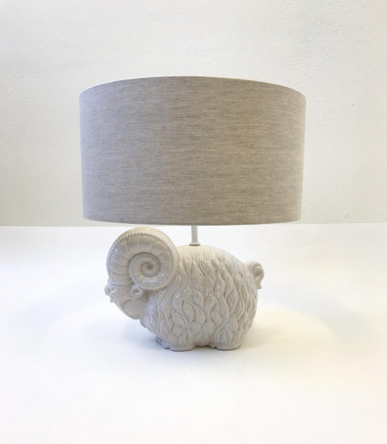 Late 20th Century White Ceramic Ram Table Lamp by Hager  For Sale