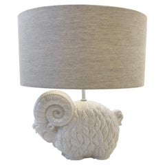 White Ceramic Ram Table Lamp by Hager
