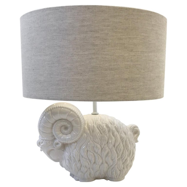 White Ceramic Ram Table Lamp by Hager  For Sale