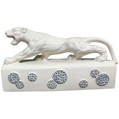 """White Ceramic """"Sportsman Panther"""" TV Lamp signed Kron, 1955"""