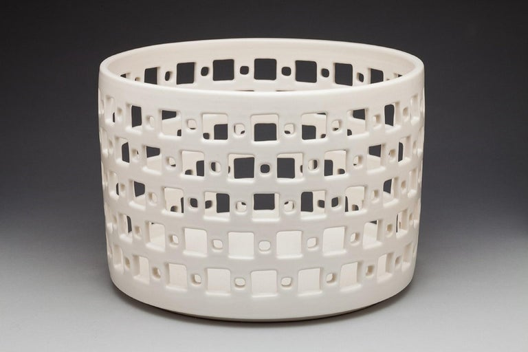 Mid-Century Modern White Ceramic Square Pierced Cylindrical Bowl or Vessel, In Stock For Sale