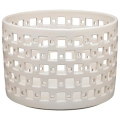 White Ceramic Square Pierced Cylindrical Bowl or Vessel, In Stock