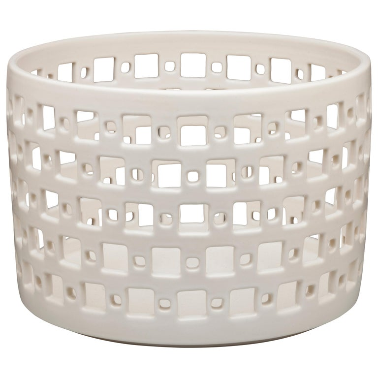 White Ceramic Square Pierced Cylindrical Bowl or Vessel, In Stock For Sale