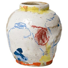 White Ceramic Stoneware Vase by Claude Varlan Abstract Colors Painting
