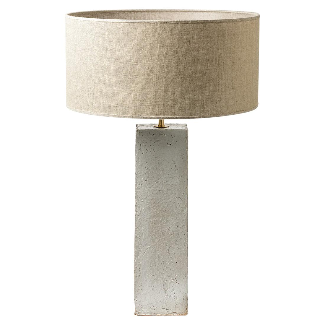 White Ceramic Table Lamp 20th Century Design French Potters  Lighting