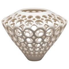 White Ceramic Tapered Diamond Vessel
