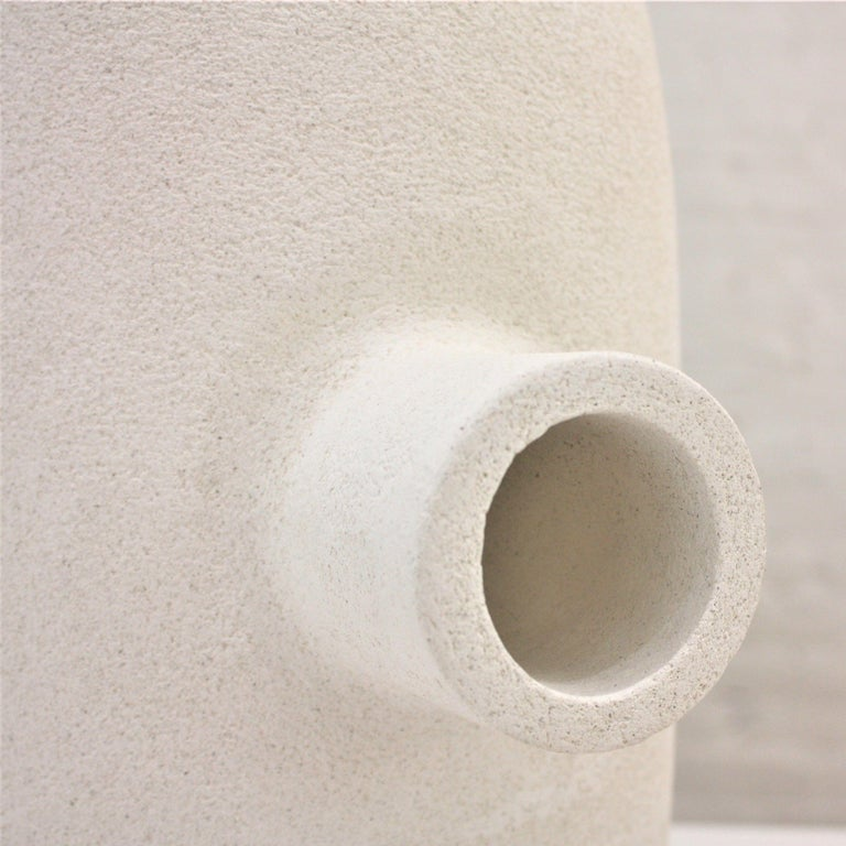 French White Ceramic TOTEM Sculpture, Moodiie For Sale