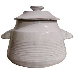 White Ceramic Tureen with Lid, Les Argonautes, Ferlay & Bourguet, circa 1960