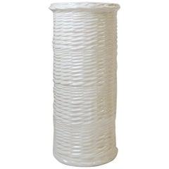 White Ceramic 'Wicker' Umbrella Stand Holder, West Germany