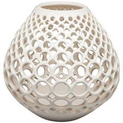 White Ceramic Wide Pierced Tabletop Sculpture, In Stock