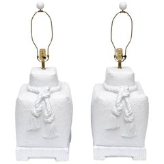 White Ceramic Woven, Roped and Tasseled Lamps Pair of Vintage