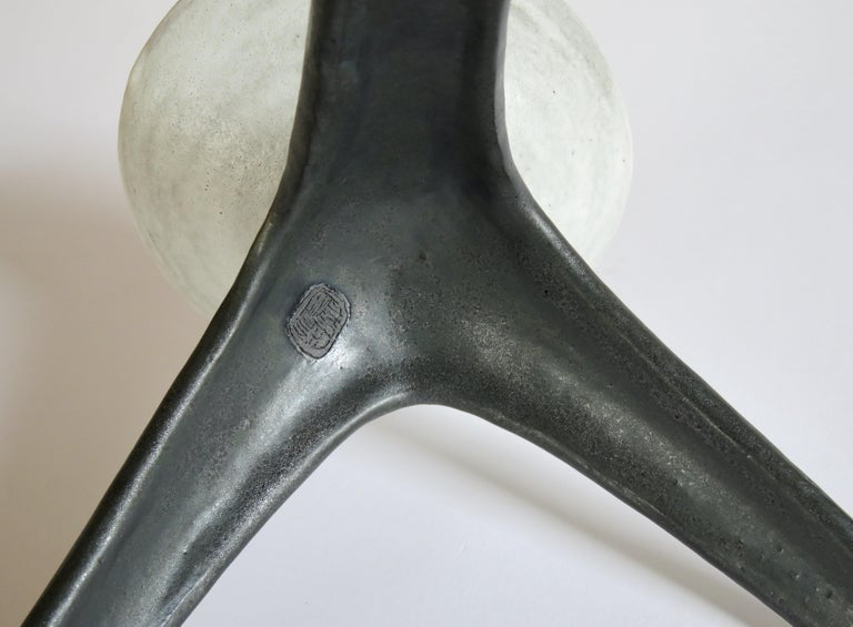 White Chalice Cup on Black Tripod Legs, Glazed Hand Built Ceramic For Sale 5