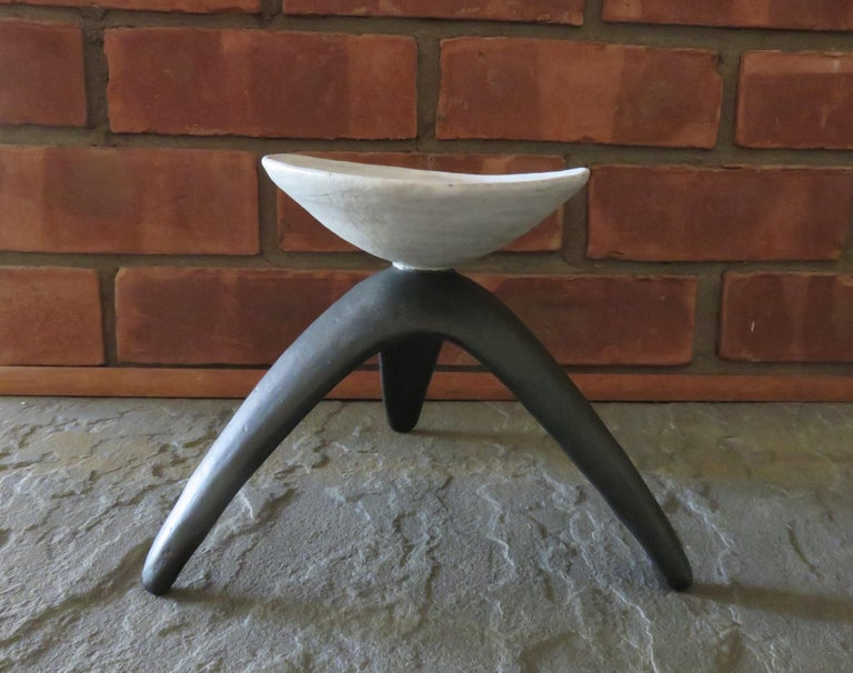 White Chalice Cup on Black Tripod Legs, Glazed Hand Built Ceramic For Sale 6