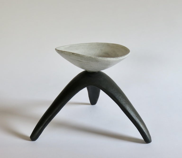 Organic Modern White Chalice Cup on Black Tripod Legs, Glazed Hand Built Ceramic For Sale