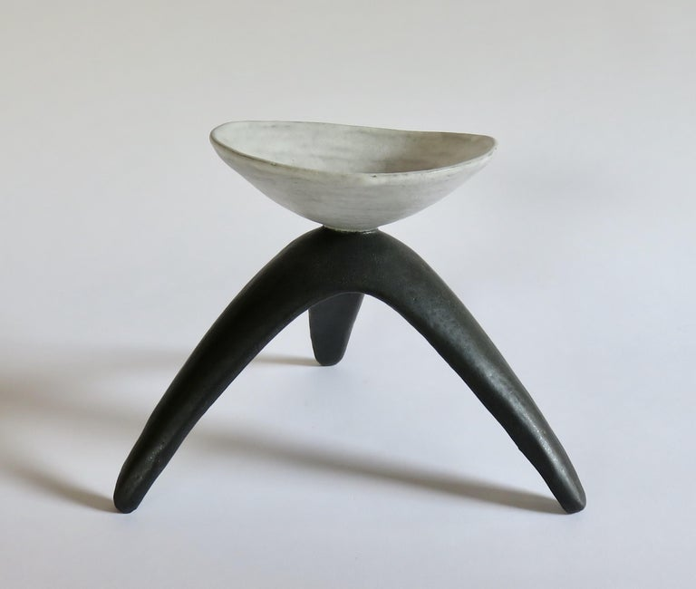 American White Chalice Cup on Black Tripod Legs, Glazed Hand Built Ceramic For Sale