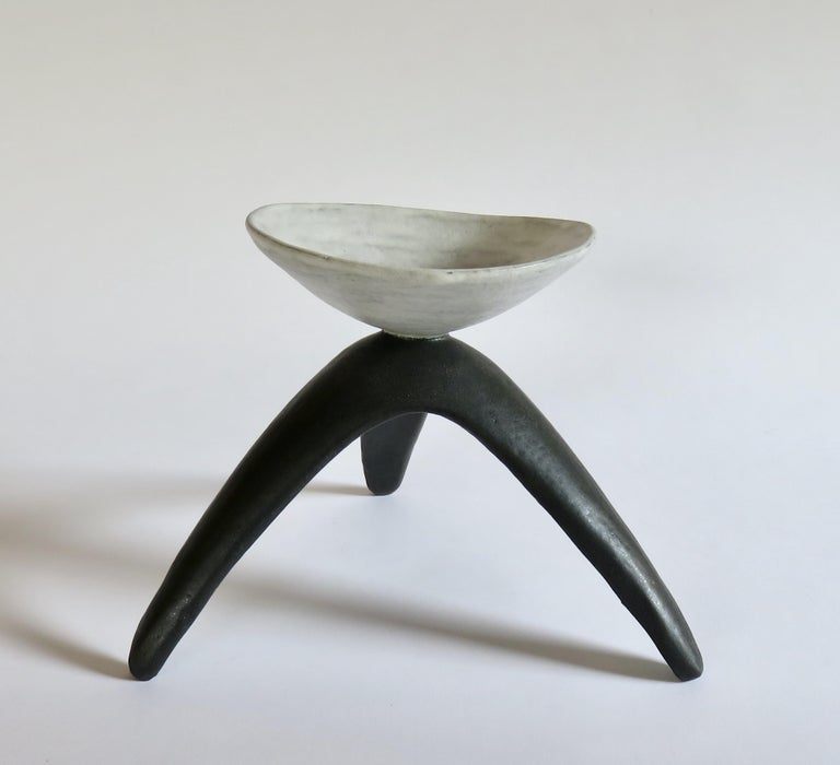 White Chalice Cup on Black Tripod Legs, Glazed Hand Built Ceramic In New Condition For Sale In New York, NY