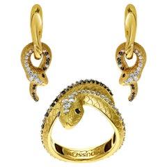 White, Champagne and Black Diamonds 18 Karat Yellow Gold Snake Suite