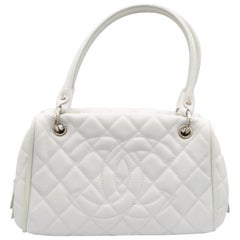 White Chanel Leather Tote Bag