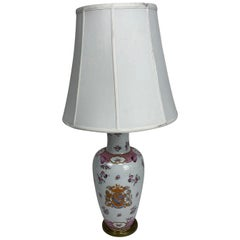 White Chinese Export Samson Armorial Lamp with Order of the Garter Decoration